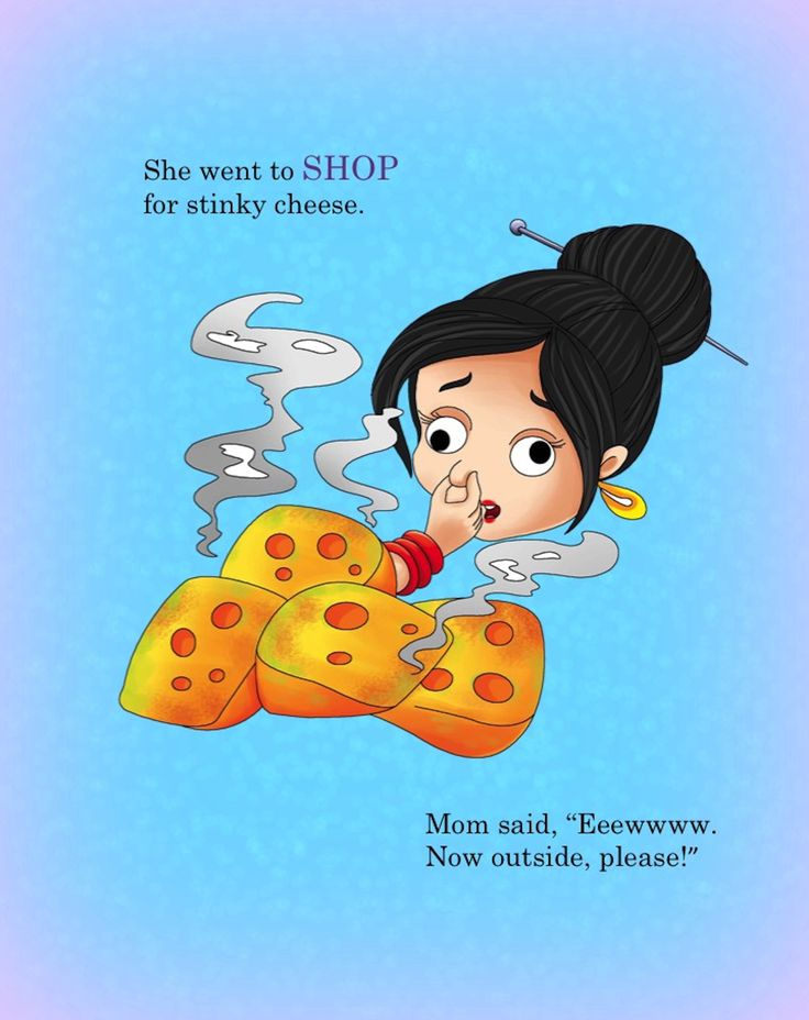 Poor Mom.  Where did this stinky cheese come from? My Little OP Rhyming Book Coming Soon! www.vickymford.com