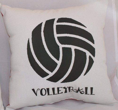 "Volleyball Pillow Teen Bedroom Decor Personalize Bling Zebra Backing 10"" x 10"" 