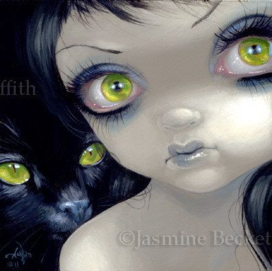 Faces of Faery 170 black cat green big eye fairy face art print by Jasmine Becket-Griffith 6x6