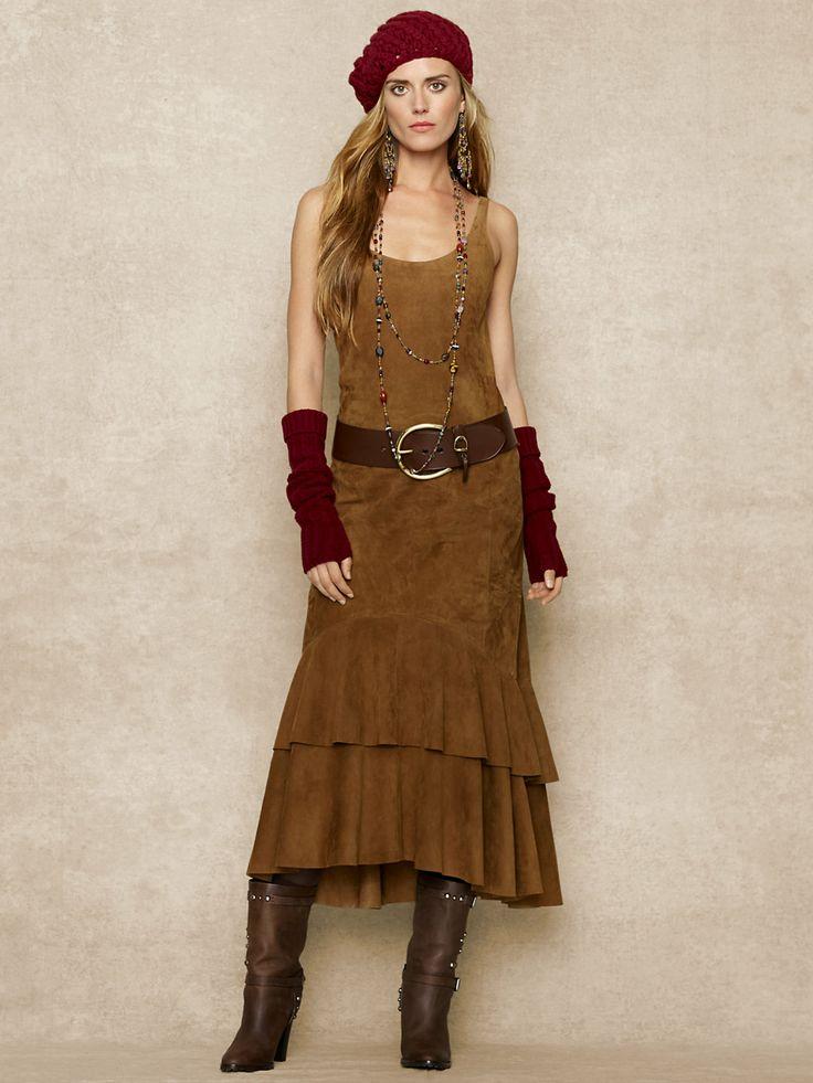 Sleeveless Suede Dress - RalphLauren.com