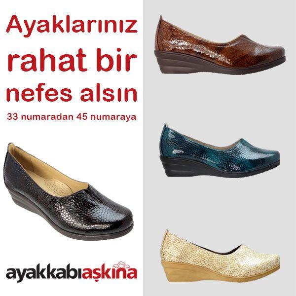 Ayaklarınız rahat bir nefes alsın. Özel üretim, geniş kalıplı, büyük ve küçük numara kadın ayakkabılarımızı görmek için sitemizi ziyaret edin.