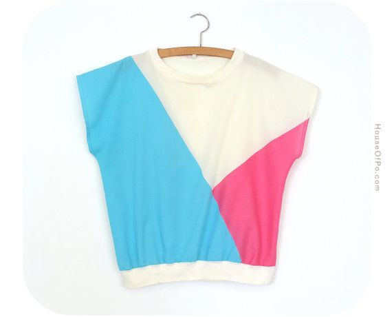80's top pink and sky blue top by PoVintage on Etsy, €19.00