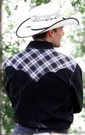50-MADDOX | Camisa vaquera manga larga para hombre combinación cuadros grises y algodón negro, si eres rockabilly esta camisa también te encantará!
