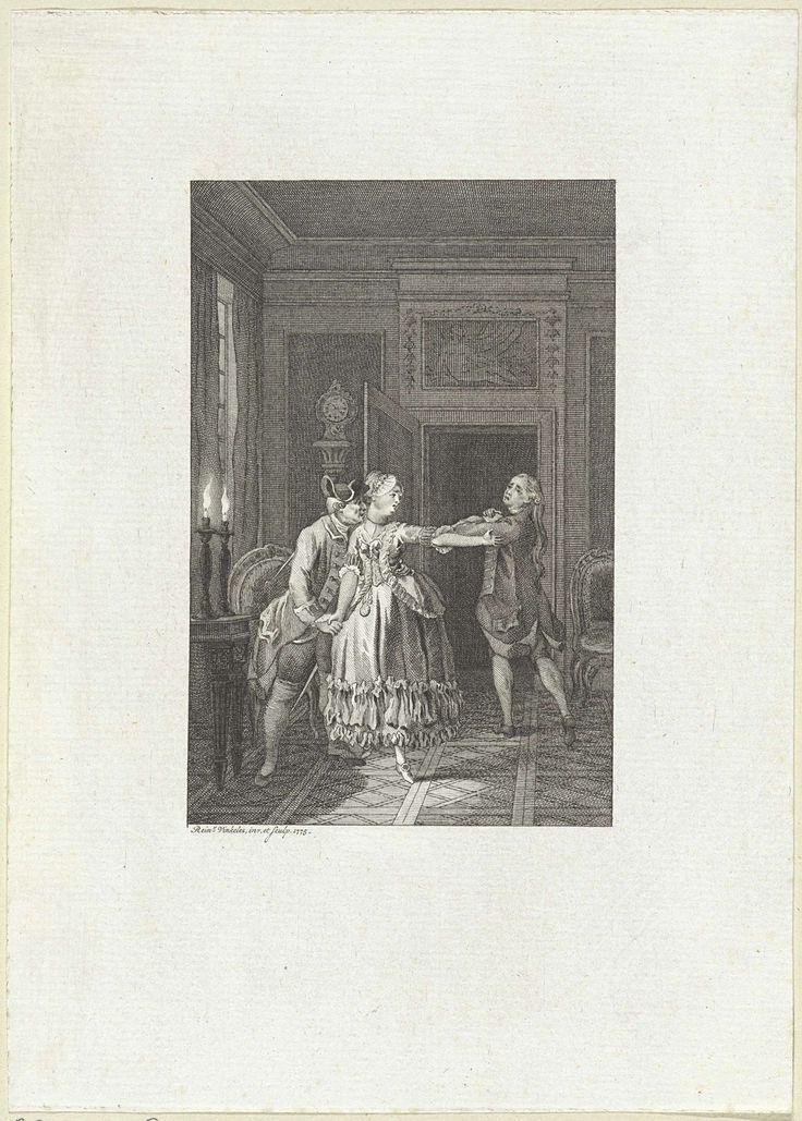 Twee mannen en een vrouw in een door kaarslicht verlicht vertrek, Reinier Vinkeles, 1775