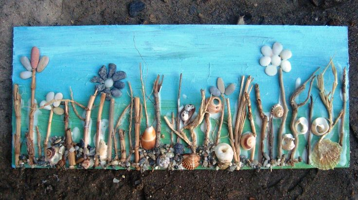 Stone, cocleshell, twig and acrylic on canvas