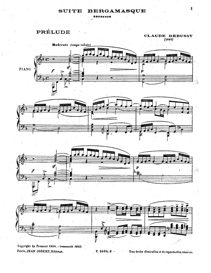 Debussy - Suite Bergamasque sheet music (Clair de Lune)