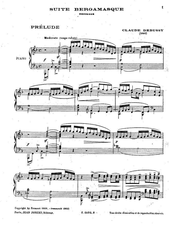 Debussy - Suite Bergamasque sheet music (Clair de Lune)
