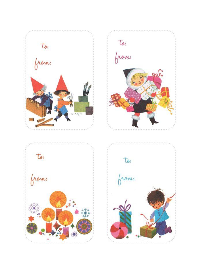 étiquettes imprimables retro pour les cadeaux de #Noel, free printable retro tags