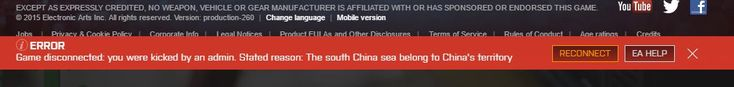 My friend was playing BF4 when this happened. He's Filipino. Go figure.