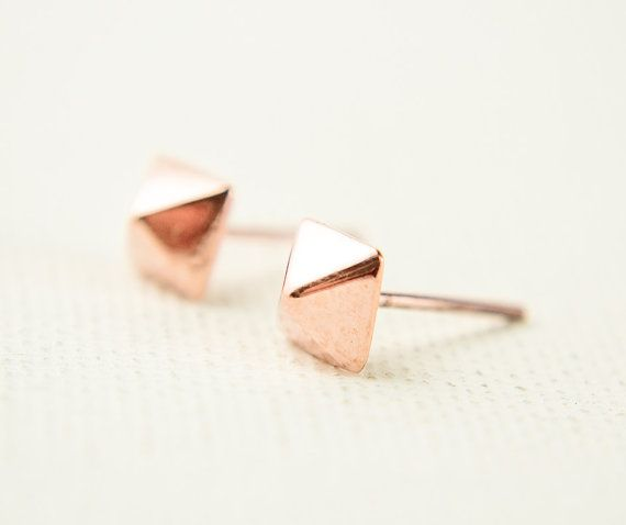 Rose Gold Pyramid Earrings Tiny Pyramid Studs by lunaijewelry