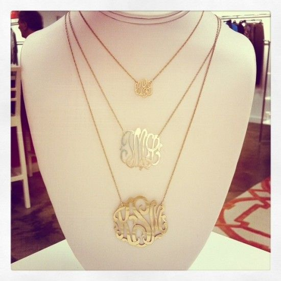 """The original gold monogram necklace with your initials hand cut and hung from a sparkling split chain. There is no substitute for the original! These darling Moon and Lola cutout gold monogram necklaces will be a treasure for years to come and are also available in sterling silver or rose gold. Fabricated by hand with love by the original designer these triple letter monogram necklaces dazzle. Available in four size options all fabricated on a 16"""" chain with a 3"""" extender: Large (1 5/8""""..."""