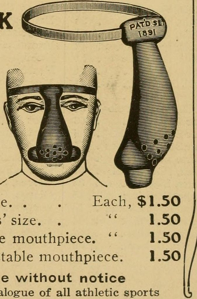 """FOOTBALL MASK: Mouth, teeth and nose guard. Image from page 318 of """"The Official National Collegiate Athletic Association football guide. The official rules book and record book of college football"""" (1907)"""