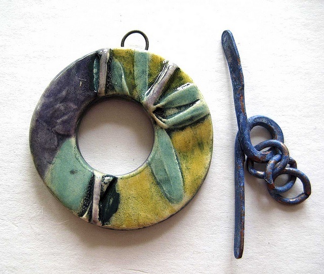 toggle clasp blues and mustard by maryharding via flickr ceramic clay