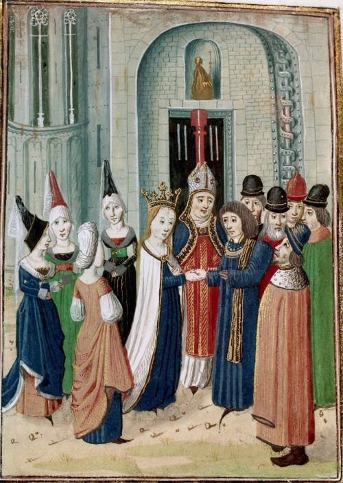 Marriage of Philip d'Artois and Marie, daughter of Duc de Berry. Chroniques (Vol. IV, part 2) by Jean Froissart, fol. 6r - 15th century (ca. 1470-1472) Southern Netherlands - Bruges London, British Library Harley 4380