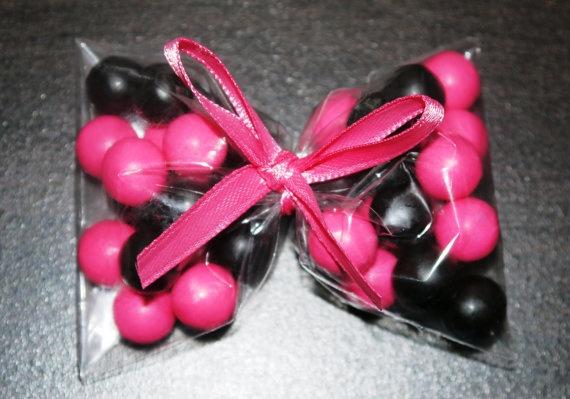 Hot Pink Black Bow Favors Princess Party Punk by FavorsbyLauren