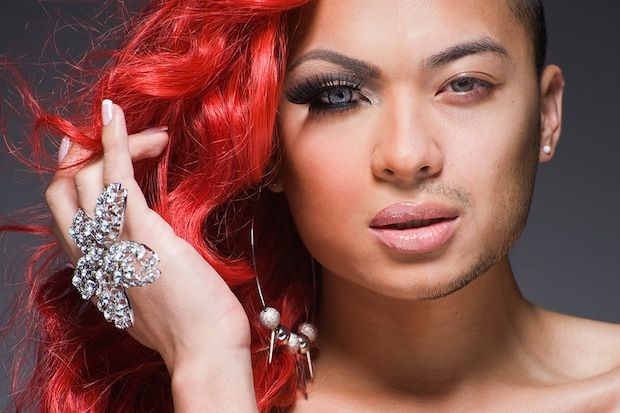 Half-drag portraits.  Shows the before and after transformation of NYC drag queens
