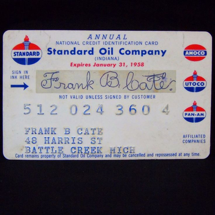 Standard Oil Company Credit Card Expired 1958 Pan Am Utoco Amoco Esso Chevron