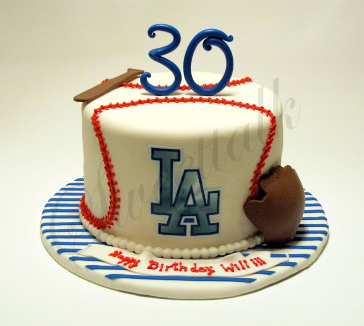 LA Dodgers Baseball cake . - Los Angeles, Dodgers Baseball cake for a surprise birthday party. With love from a sister to her brother !!!