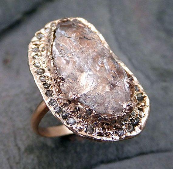 Grezzo+grezzo+Uncut+Morganite+diamanti+rosa+oro+Halo+di+byAngeline