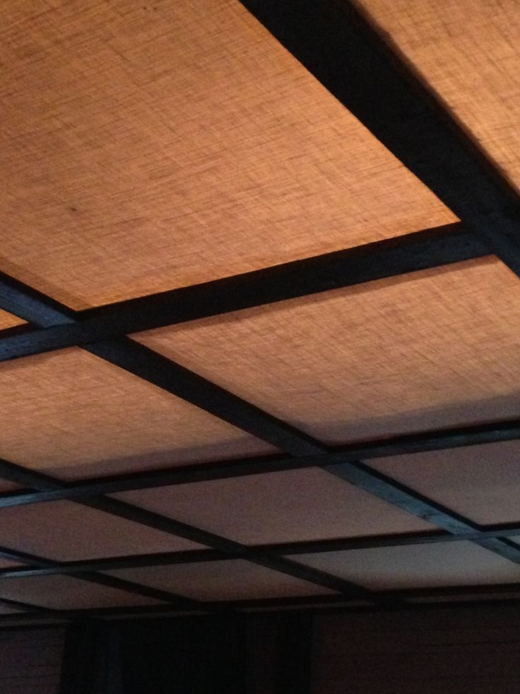 Burlap ceiling.