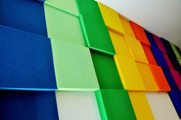 Kolekcja Fluffo PIXEL. Miękkie panele ścienne 3D Fluffo. Fluffo, Fabryka Miękkich Ścian. Projekt by: www.dekoratorniatv.pl