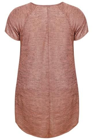 Rose Gold Space Dye Jersey Top With Extreme Dipped Hem