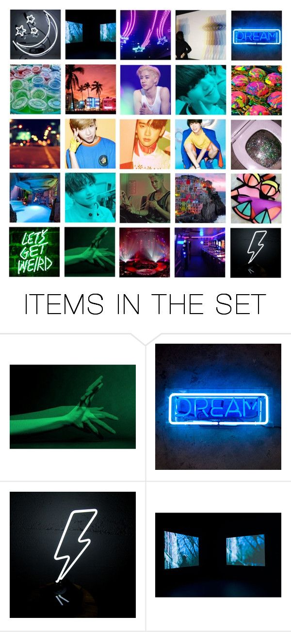 """""""Neon Pool Party w Got7"""" by carrie-lynn ❤ liked on Polyvore featuring art"""