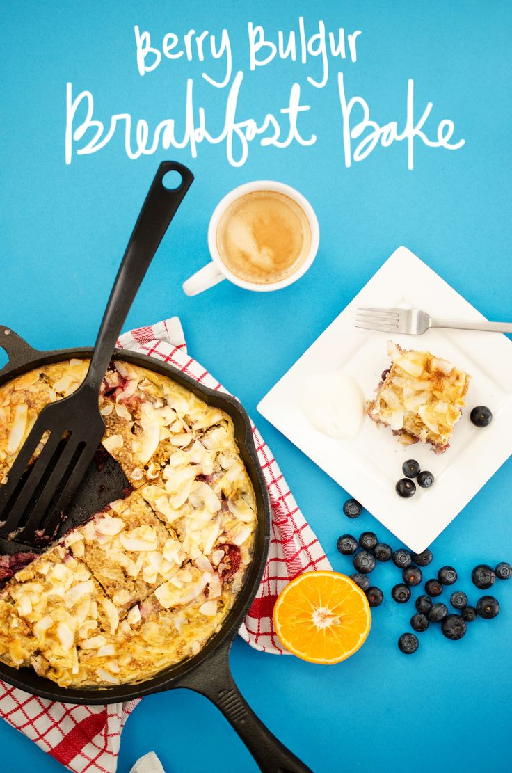 This healthy Berry Bulgur Breakfast Bake recipe is a one dish meal that is loaded with whole grains and fruit, perfect for the whole family! // Live Eat Learn