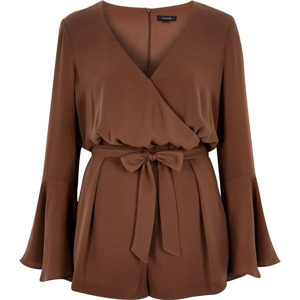 River Island Brown smart 70s bell sleeve playsuit ($38) ❤ liked on Polyvore featuring jumpsuits, rompers, dresses, brown, sale, tall romper, river island, fitted romper, brown romper and bell sleeve romper