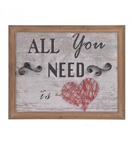 WOODEN_METAL WALL DECOR  'ALL YOU NEED' 66X3X54
