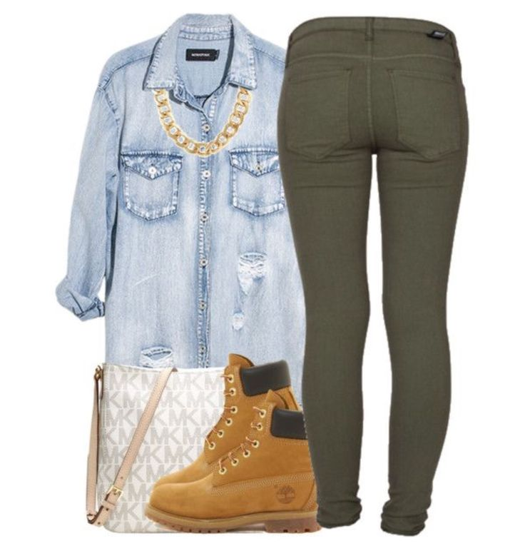 Chambray top + olive green jeans + tims