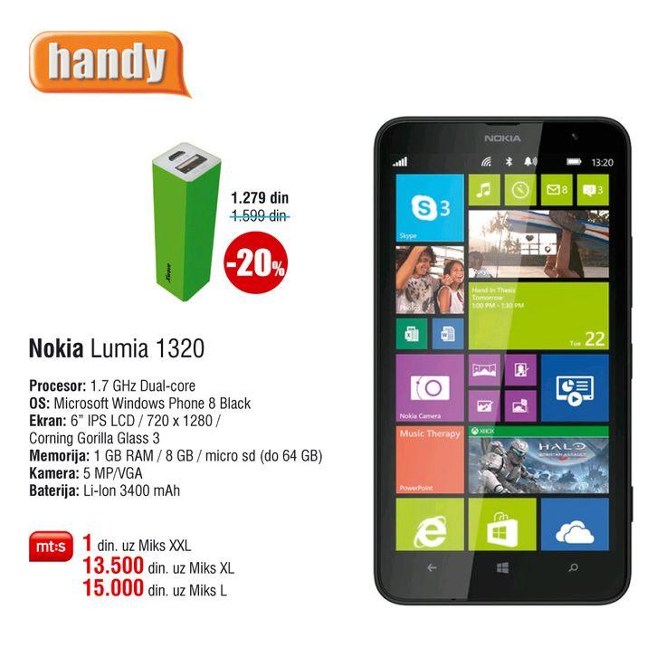 Nokia Lumia 1320, već za 1 din. uz Mt:s ugovor. http://www.handy.rs/sr/p/nokia/lumia-1320