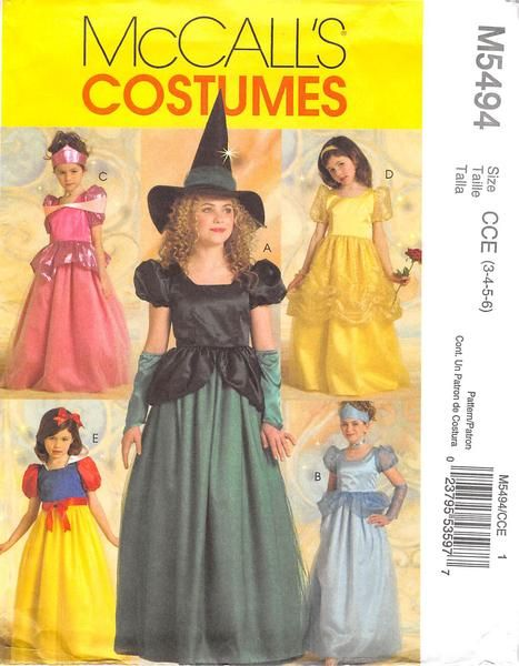 MCCALLS 5494 - FROM 2007 - UNCUT - CHILDRENS & GIRLS PRINCESS AND WITCH COSTUMES