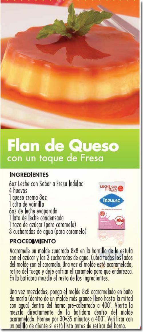 Flan de queso con un toque de fresa