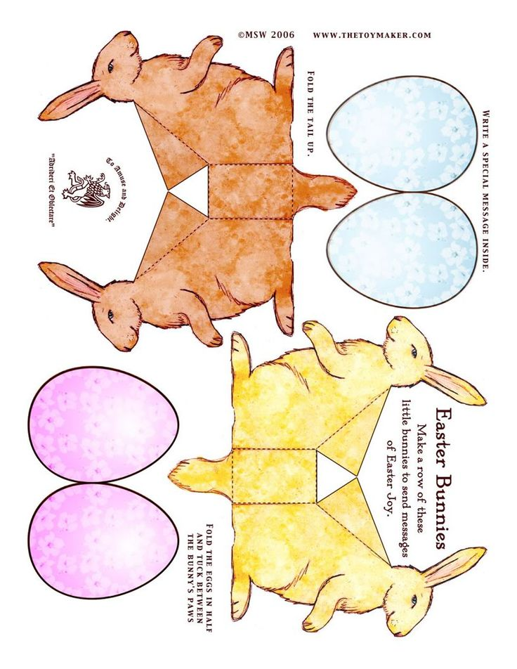 Here are some sweet bunnies to cut out and fold - from the TOYMAKER