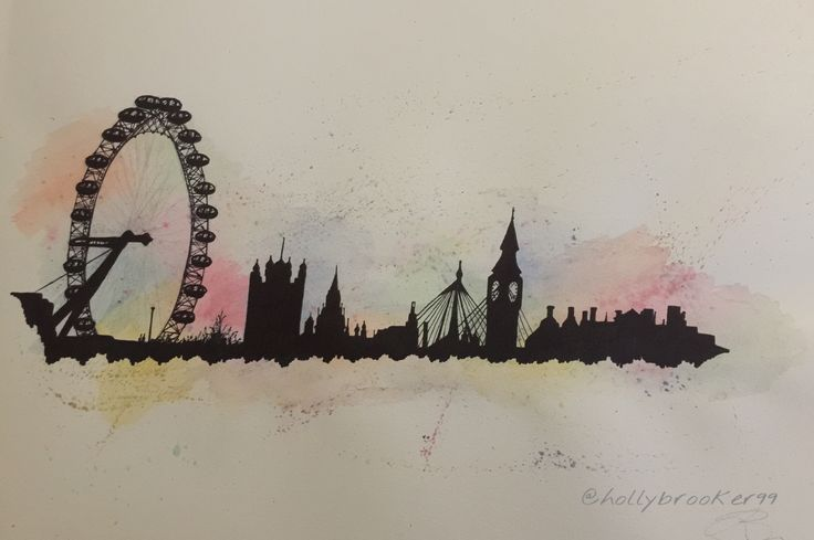 London Skyline, Watercolour and Black Sharpie - Holly Brooker
