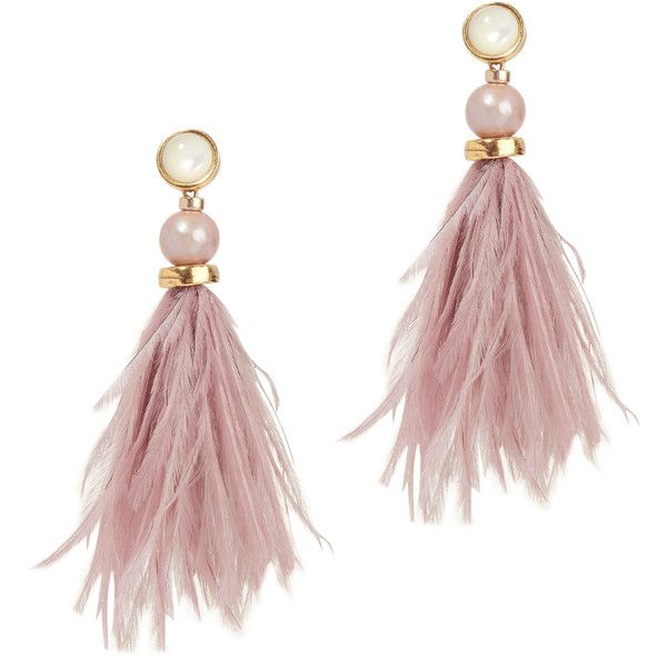 Lizzie Fortunato Parker Feather Earrings ($230) ❤ liked on Polyvore featuring jewelry, earrings, pink, lizzie fortunato, pink jewelry, feather jewelry, lizzie fortunato earrings and pink earrings