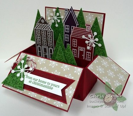 Chris' fabulous box card: Holiday Home & its framelits, Festival of Trees, Trim the Tree dsp stack, Tree Punch, & more. All supplies from Stampin' Up!