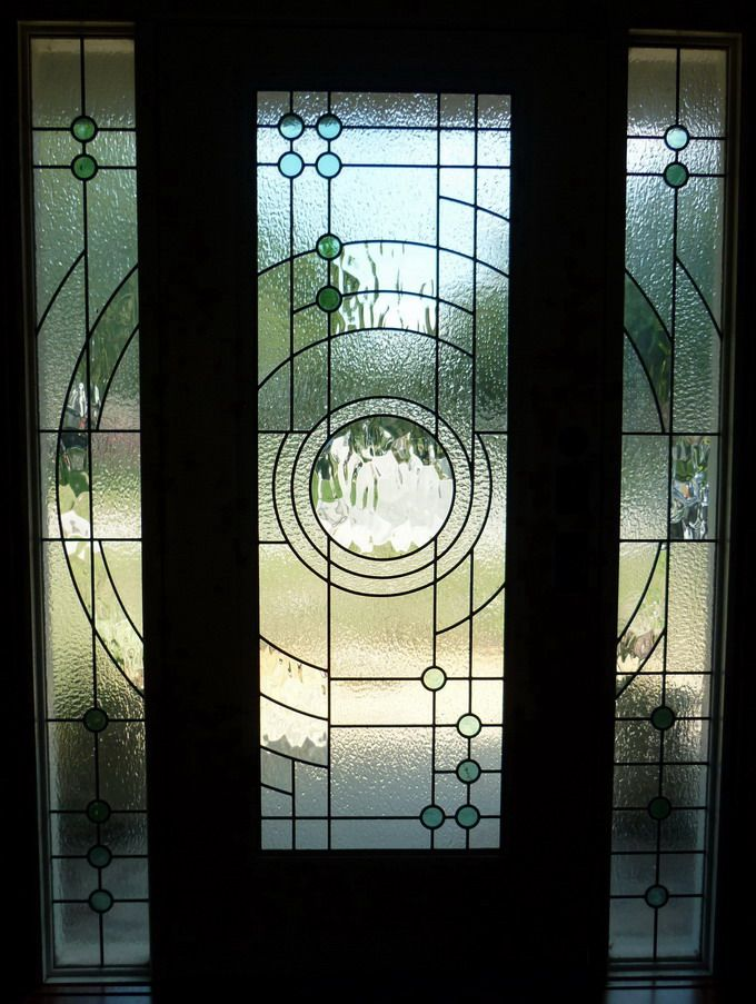 ambient moon - contemporary stained glass doors and side-panels