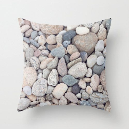 Beach Stones Throw Pillow or Pillow Cover Beach Decor Cottage Living Room Beige Tan Blue White Gray Taupe Neutral Ocean Bedroom Home Decor on Etsy, $40.00