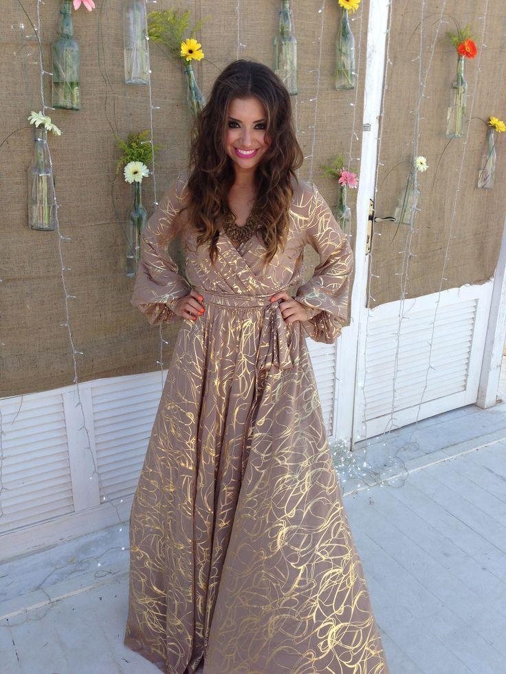Long gold wrap dress