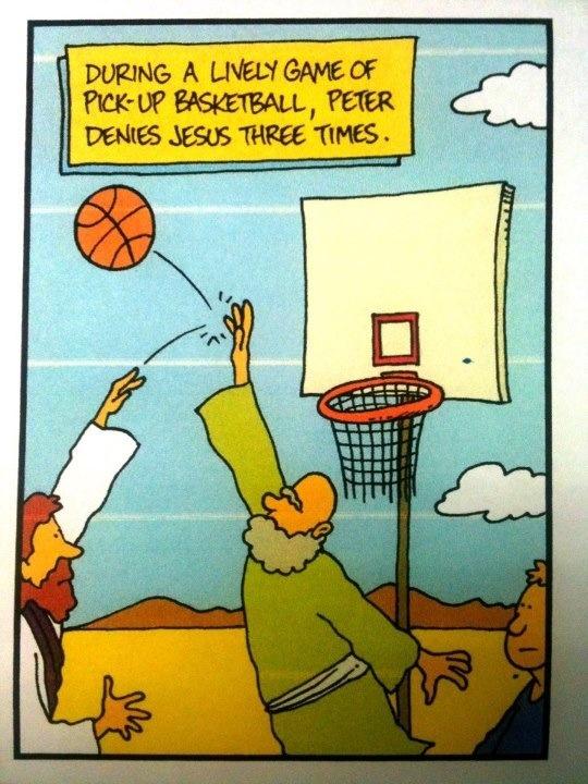 """Peter denies Jesus... in basketball...    - """"Inherit the Mirth"""" by Cuyler Black"""