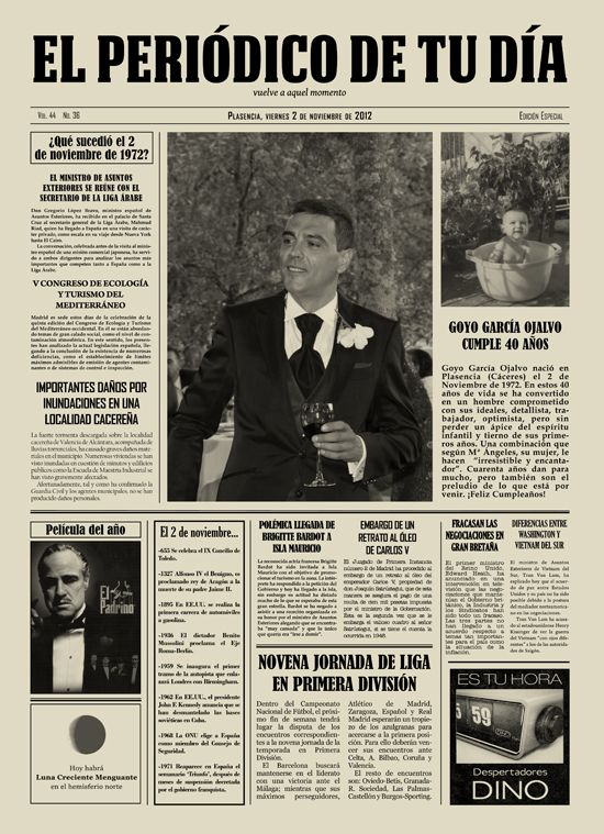 Goyo García Ojalvo cumple 40 años. En El Periódico de Tu Día lo celebramos con este regalo original. Original Gift.