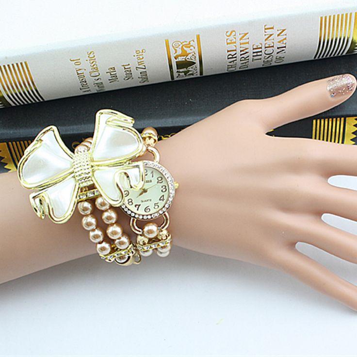 2017 Hot Brand Watch Women Fashion Butterfly Bow Pearl Casual Leather Bracelet Wristwatch Women Dress Cheap Electronics Watch