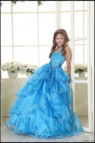 Halter ball gown kids girls pageant formal dance party dresses ebay
