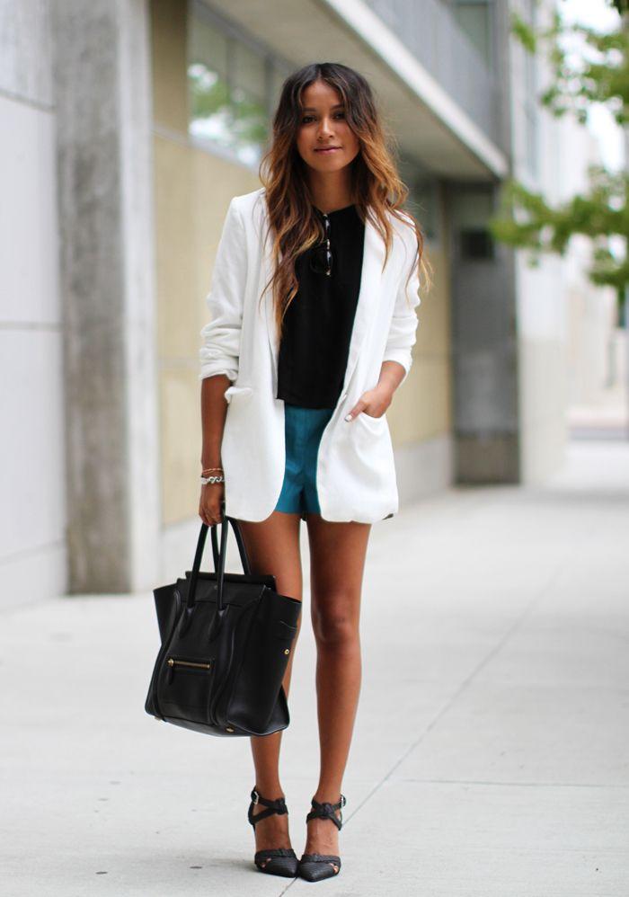 Blazer: Tildon Crop top: ASTR Shorts: Lucca Couture Heels: Tildon Bag: Céline