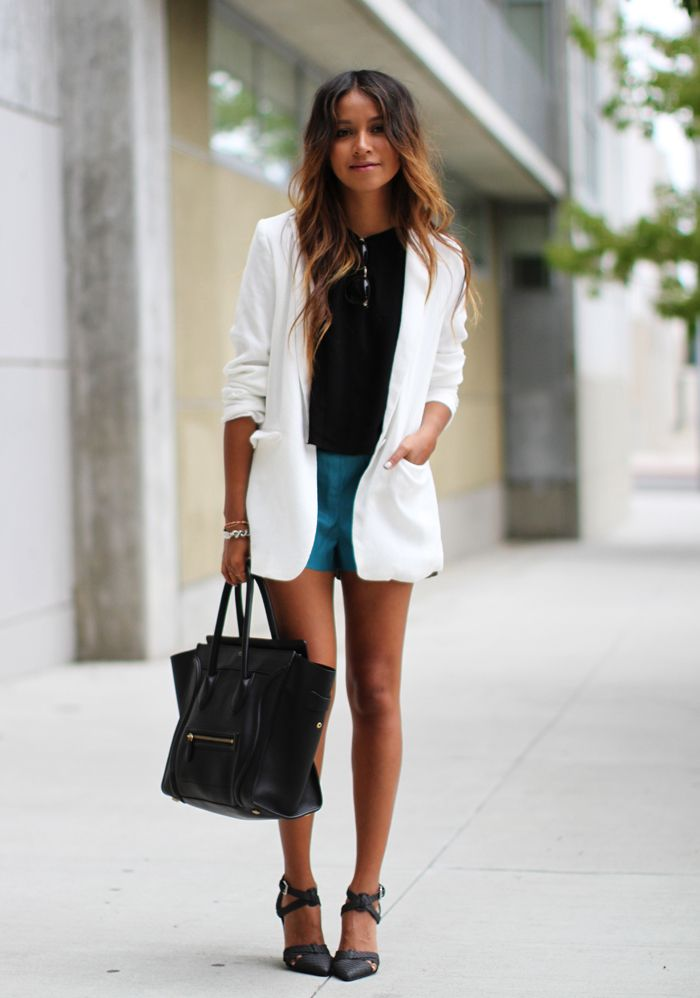 All clothing via Nordstrom: Blazer: Tildon Crop top: ASTR Shorts ...