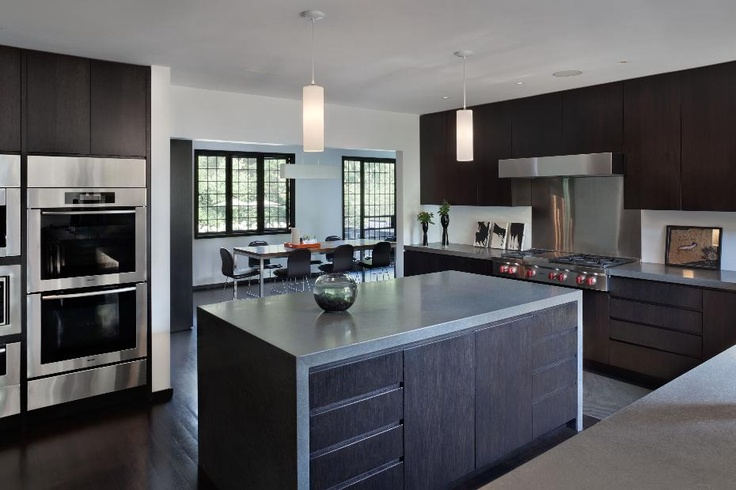 Sleek modern kitchen in shades of gray and black dream for Sleek modern kitchen cabinets