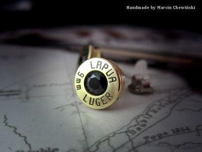 Kolczyki z łuski kal. 9mm lapua z czarną cyrkonią