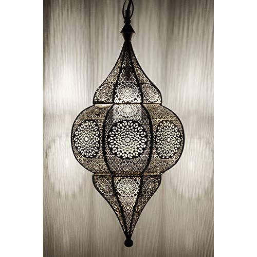 Suspension Luminaire Lampe Marocaine 50cm Argent E14 Malha Douille mNn0v8w